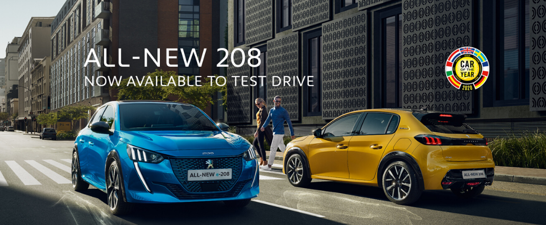 All-new Peugeot 208 in yellow and blue